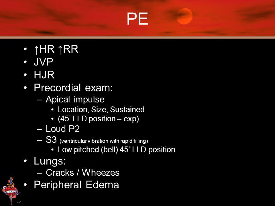 PE ↑HR ↑RR JVP HJR Precordial exam: Lungs: Peripheral Edema