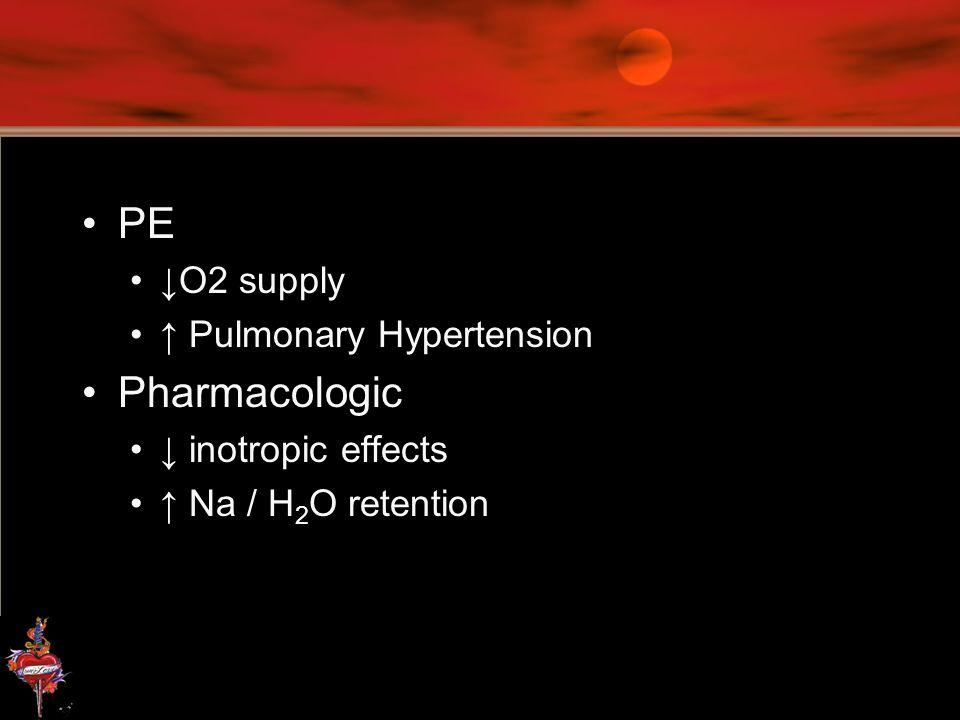 PE Pharmacologic ↓O2 supply ↑ Pulmonary Hypertension