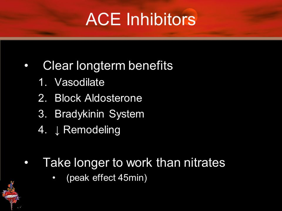 ACE Inhibitors Clear longterm benefits