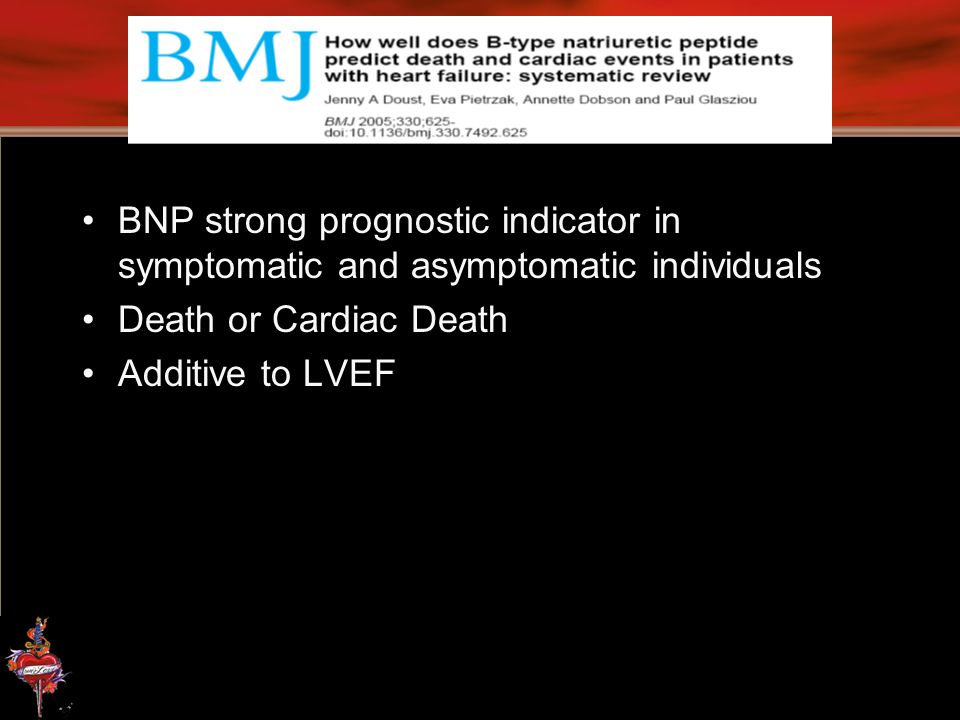 BNP strong prognostic indicator in symptomatic and asymptomatic individuals