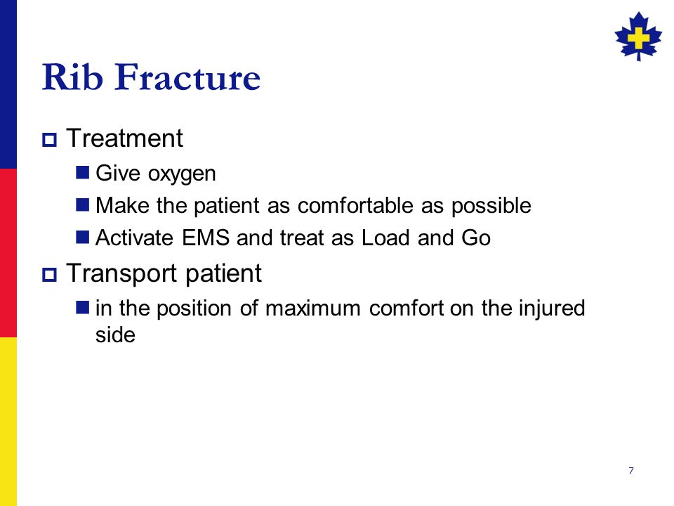 Rib Fracture Treatment Transport patient Give oxygen