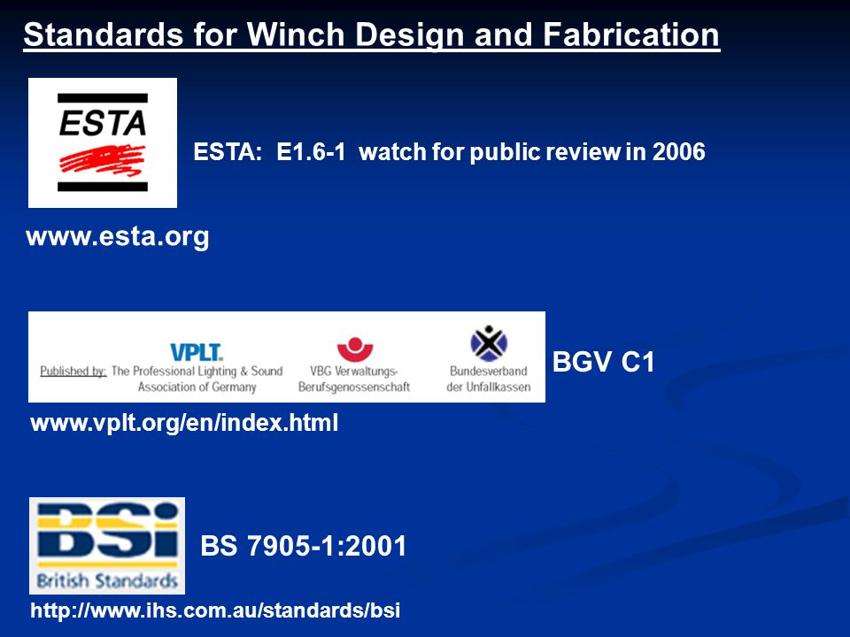 Standards for Winch Design and Fabrication