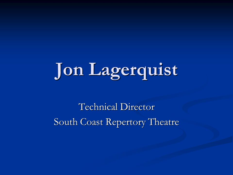 Technical Director South Coast Repertory Theatre