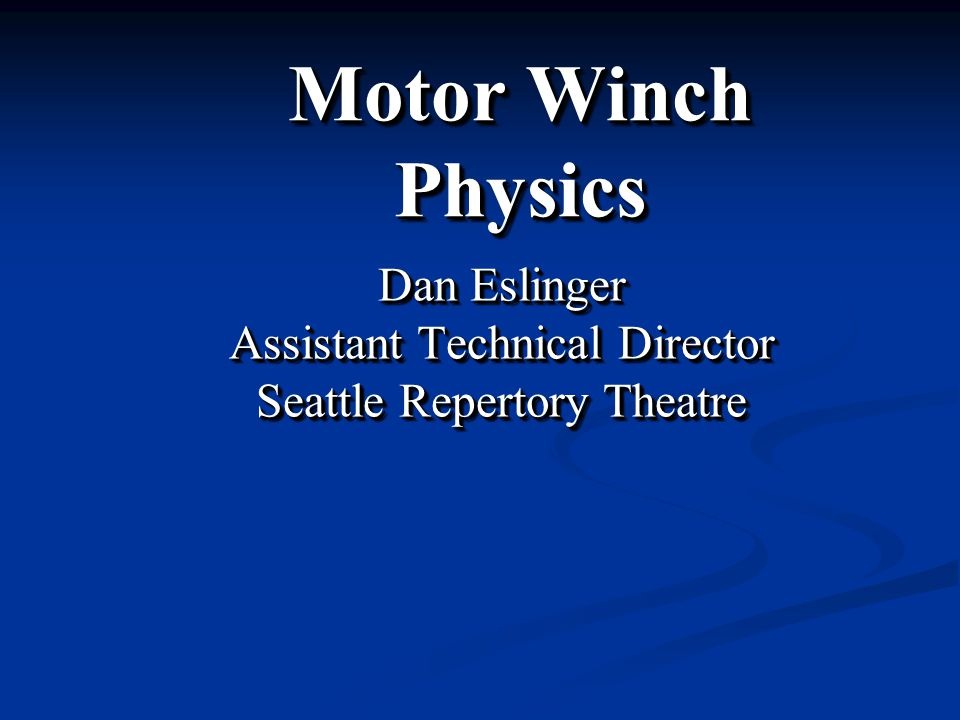 Dan Eslinger Assistant Technical Director Seattle Repertory Theatre