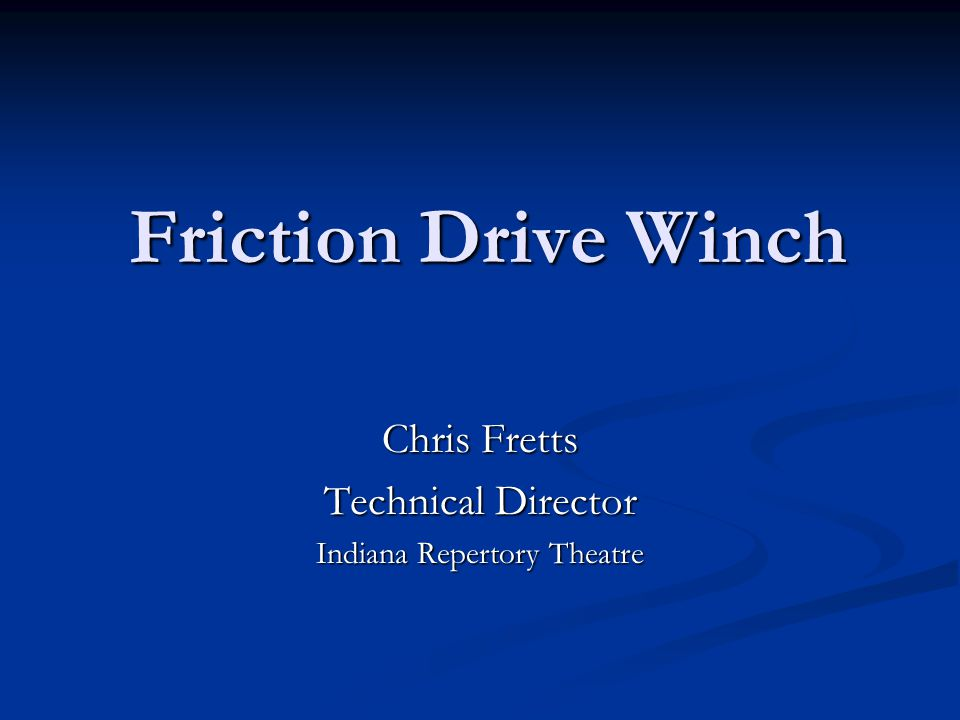 Chris Fretts Technical Director Indiana Repertory Theatre