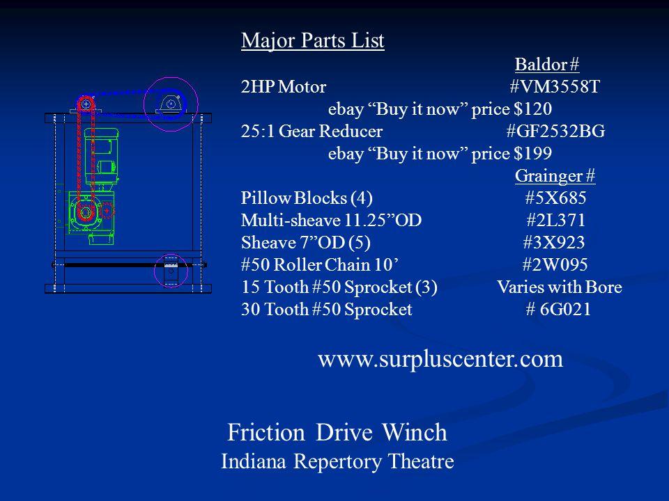 www.surpluscenter.com Friction Drive Winch Major Parts List