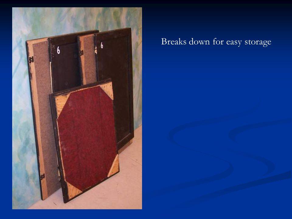 Breaks down for easy storage
