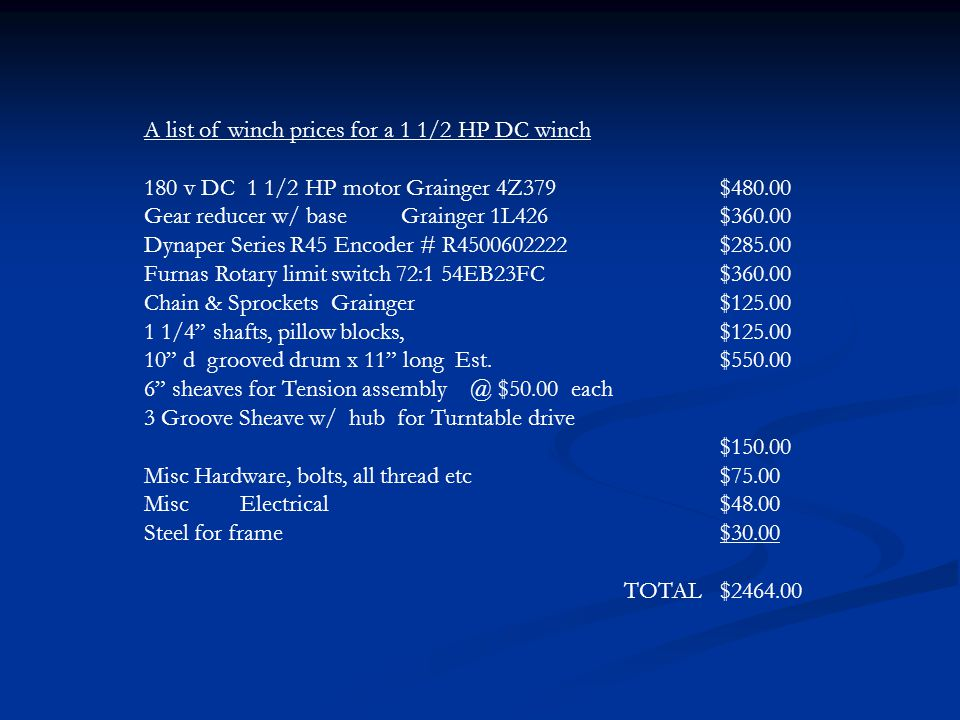 A list of winch prices for a 1 1/2 HP DC winch