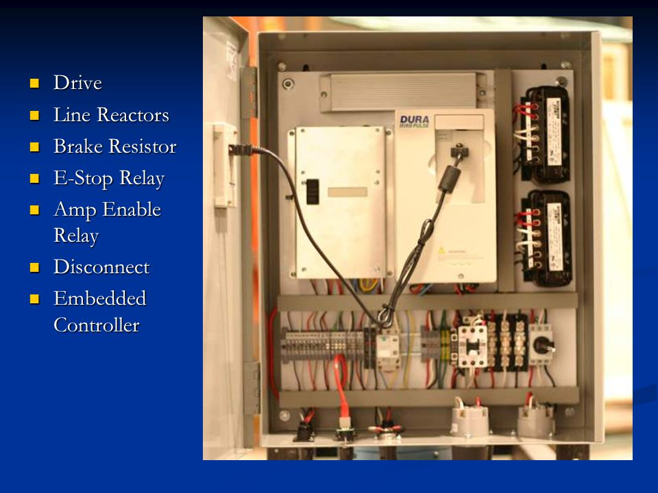 Drive Line Reactors Brake Resistor E-Stop Relay Amp Enable Relay Disconnect Embedded Controller