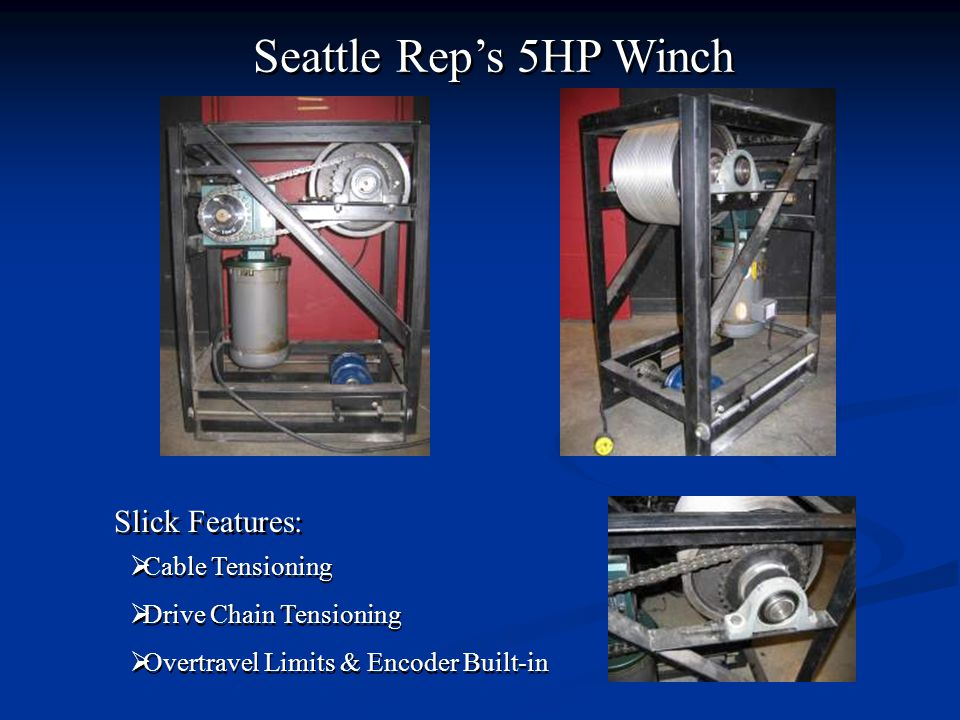 Seattle Rep's 5HP Winch Slick Features: Cable Tensioning