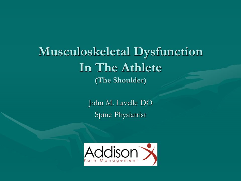 Musculoskeletal Dysfunction In The Athlete (The Shoulder)