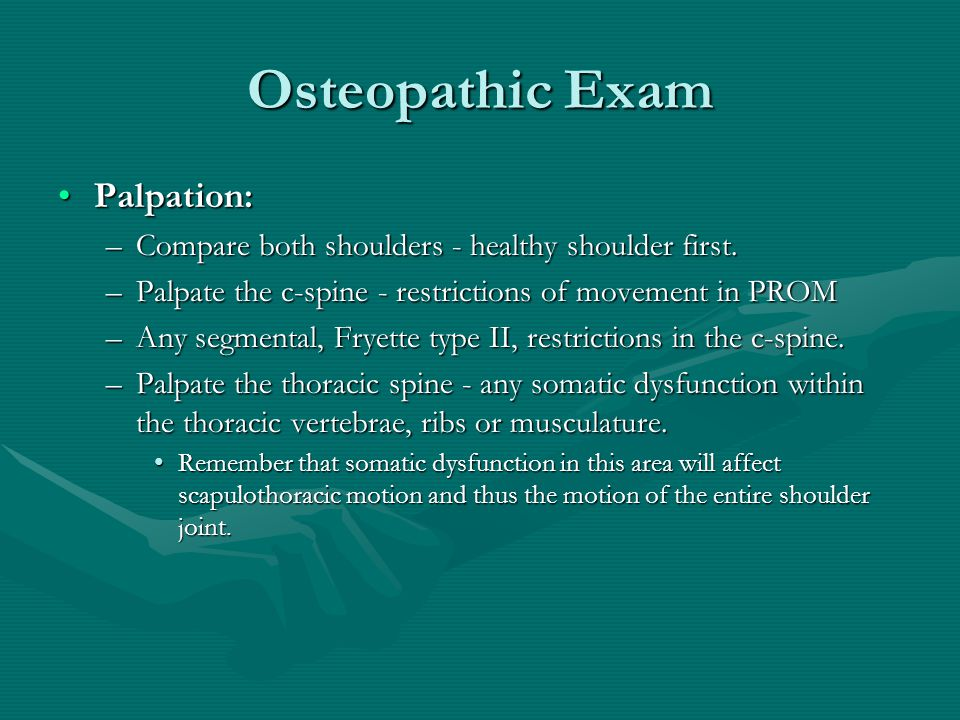 Osteopathic Exam Palpation: