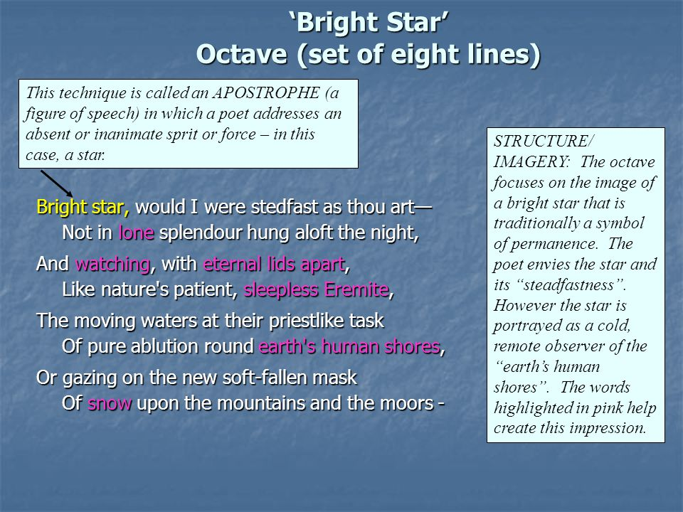 'Bright Star' Octave (set of eight lines)