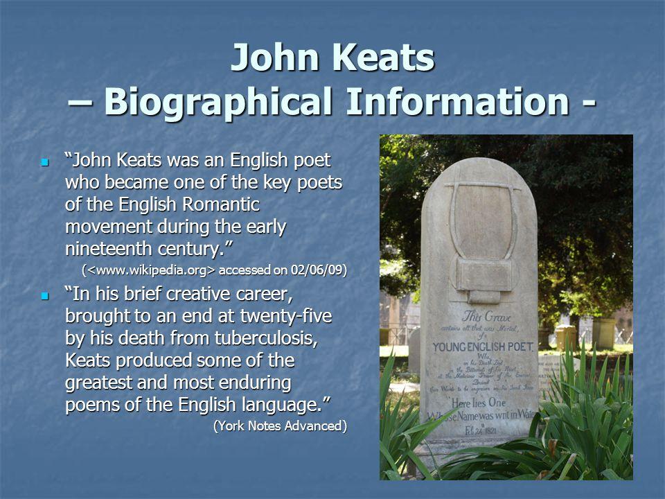 John Keats – Biographical Information -