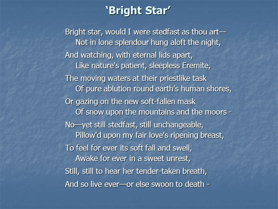 'Bright Star' Bright star, would I were stedfast as thou art— Not in lone splendour hung aloft the night,