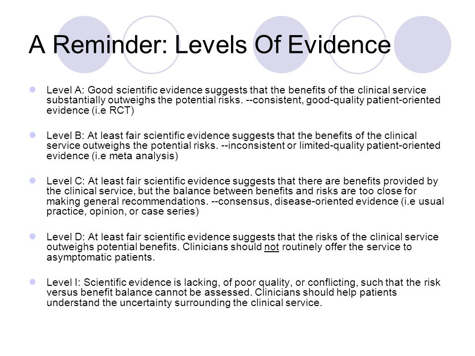 A Reminder: Levels Of Evidence