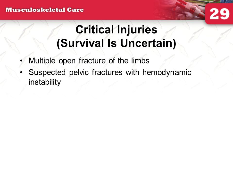 Critical Injuries (Survival Is Uncertain)