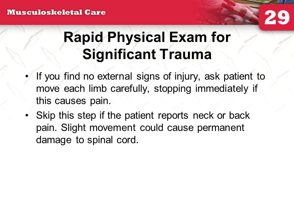 Rapid Physical Exam for Significant Trauma