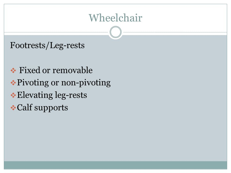 Wheelchair Footrests/Leg-rests Fixed or removable