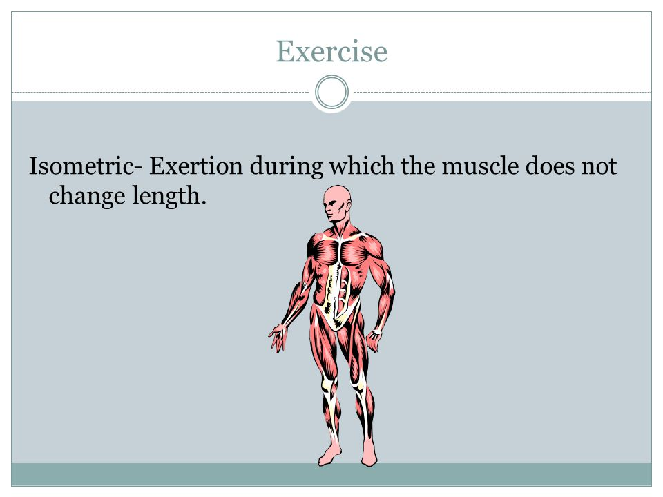 Exercise Isometric- Exertion during which the muscle does not change length.