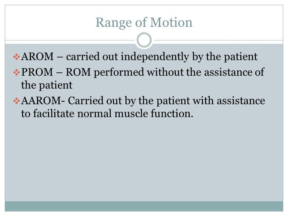 Range of Motion AROM – carried out independently by the patient