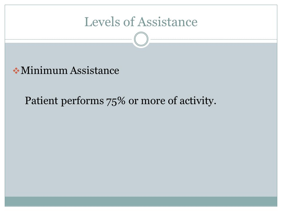 Levels of Assistance Minimum Assistance