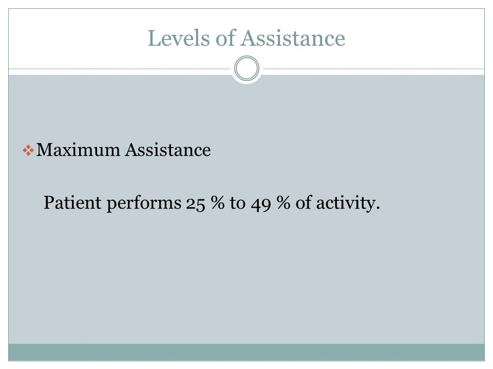 Levels of Assistance Maximum Assistance