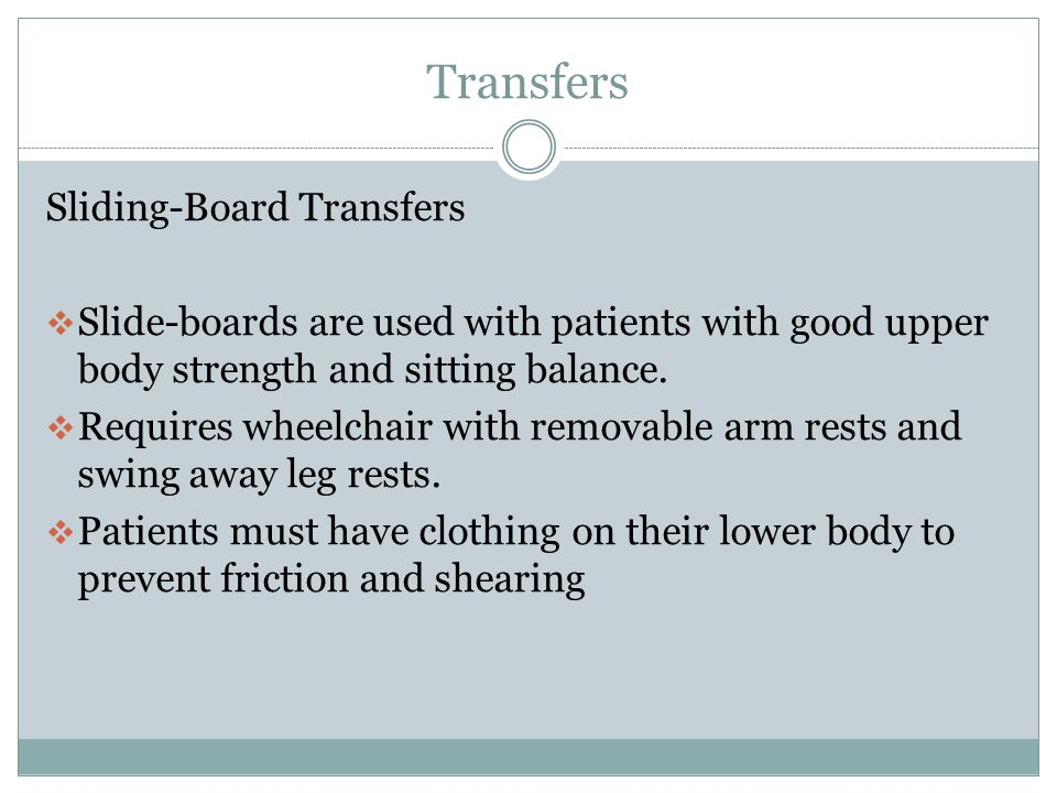 Transfers Sliding-Board Transfers