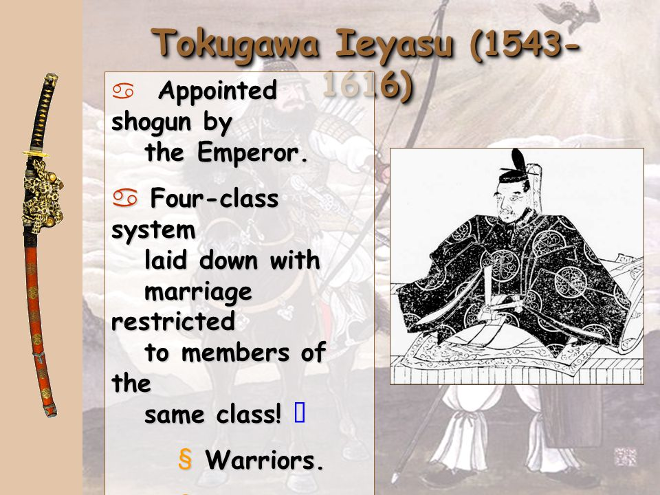Tokugawa Ieyasu (1543-1616) Appointed shogun by the Emperor.