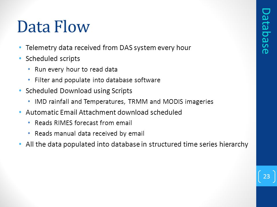 Data Flow Database Telemetry data received from DAS system every hour
