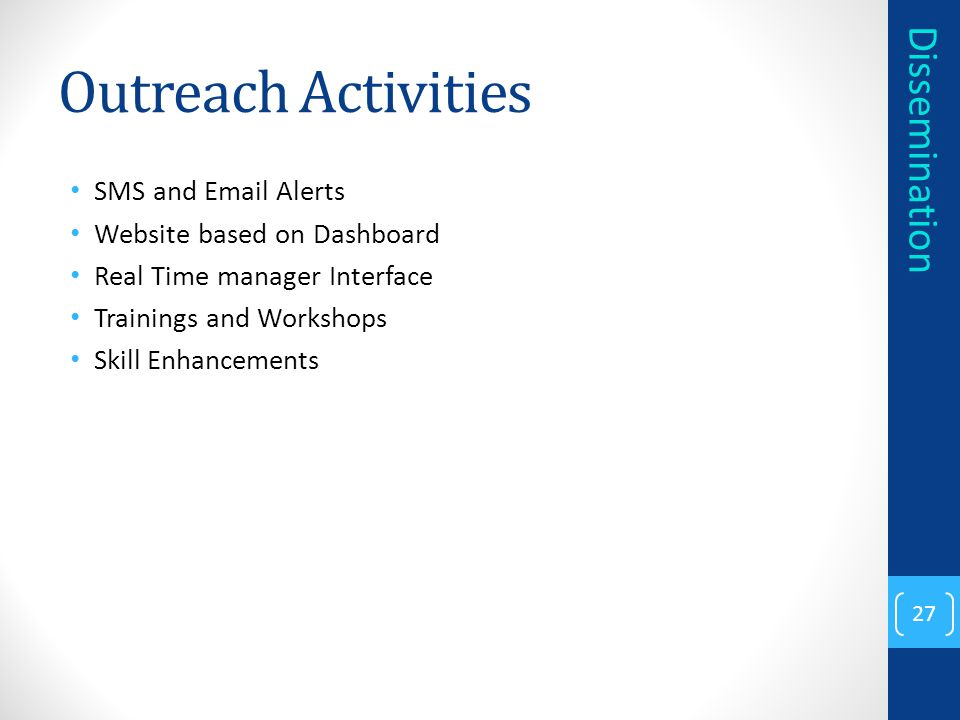 Outreach Activities Dissemination SMS and Email Alerts