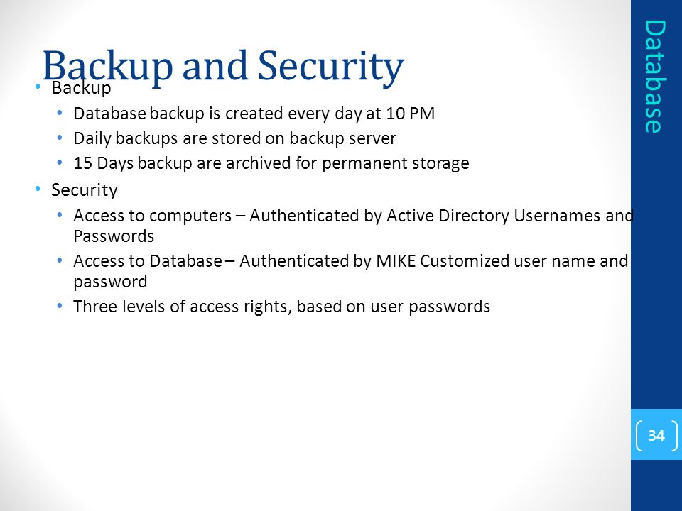 Backup and Security Database Backup Security