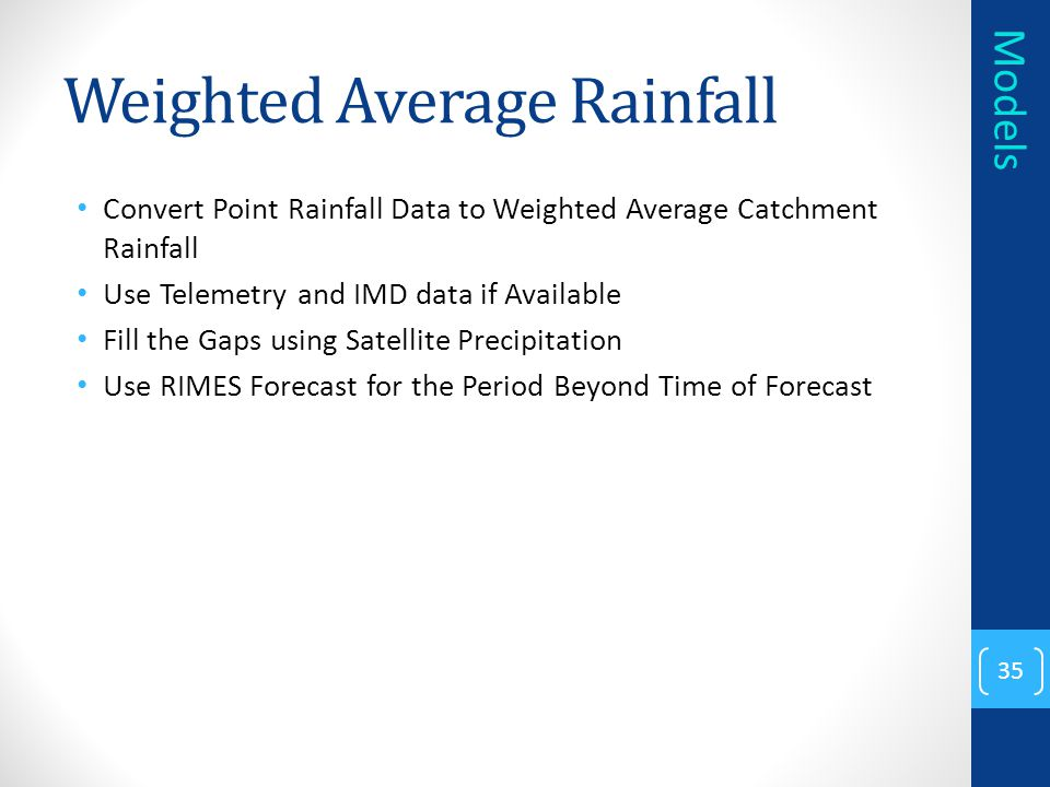 Weighted Average Rainfall