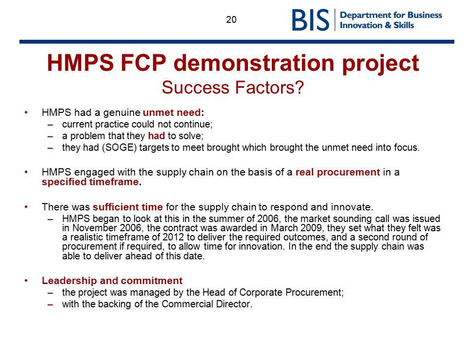 HMPS FCP demonstration project Success Factors