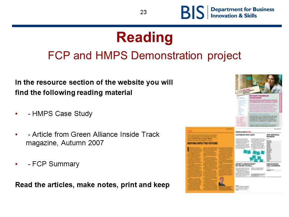 Reading FCP and HMPS Demonstration project