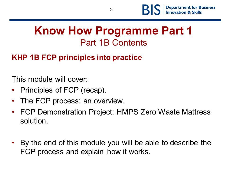 Know How Programme Part 1 Part 1B Contents