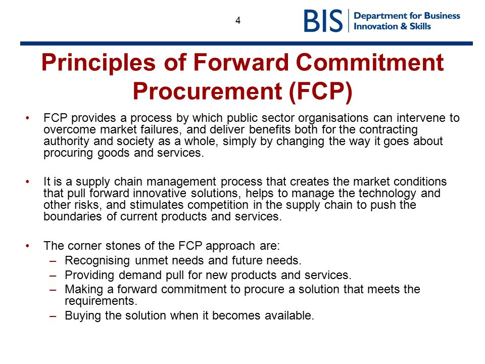 Principles of Forward Commitment Procurement (FCP)