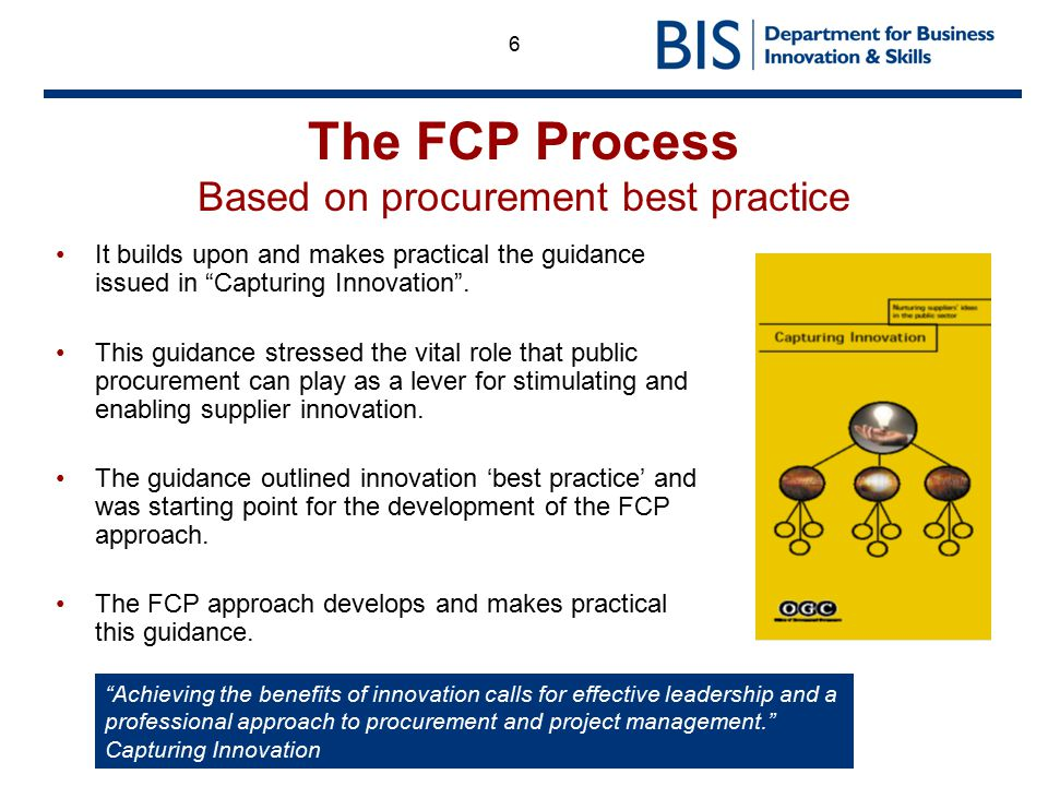 The FCP Process Based on procurement best practice