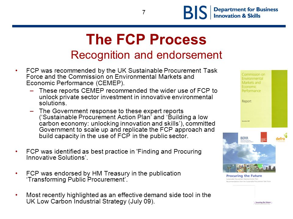 The FCP Process Recognition and endorsement