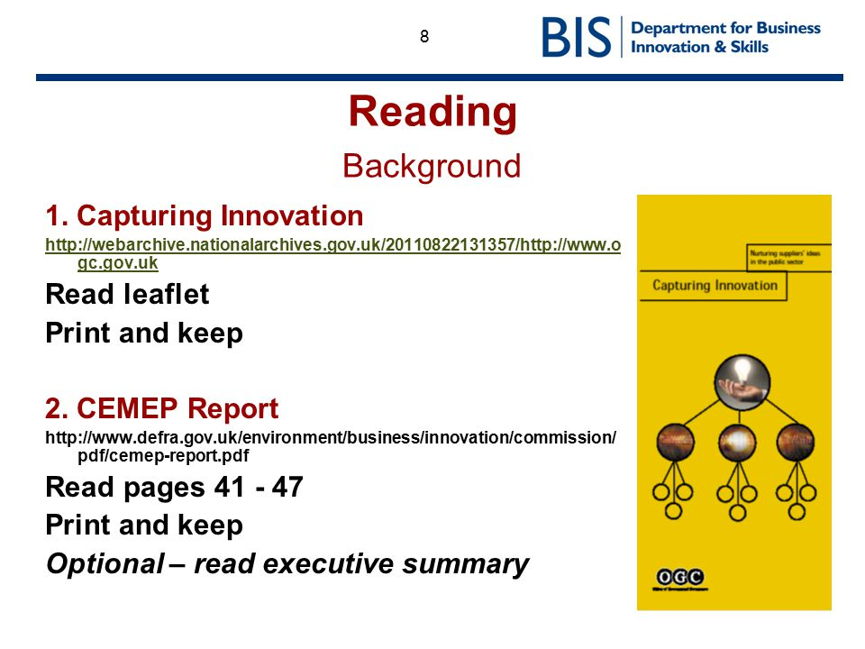 Reading Background 1. Capturing Innovation Read leaflet Print and keep