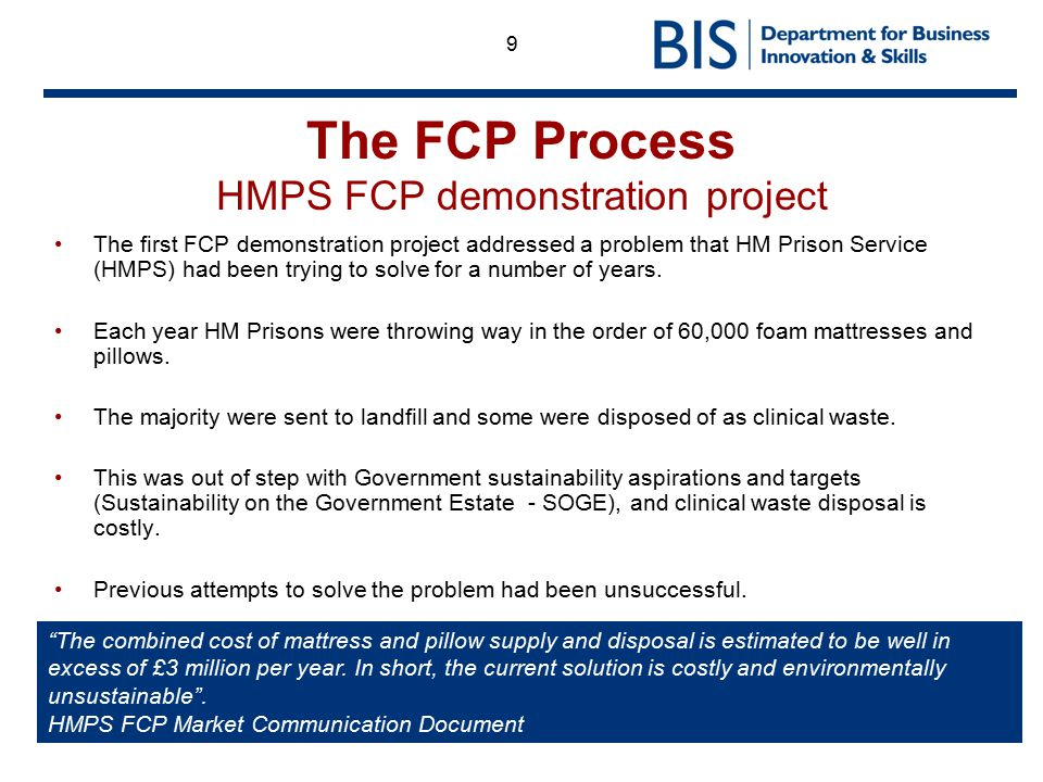 The FCP Process HMPS FCP demonstration project