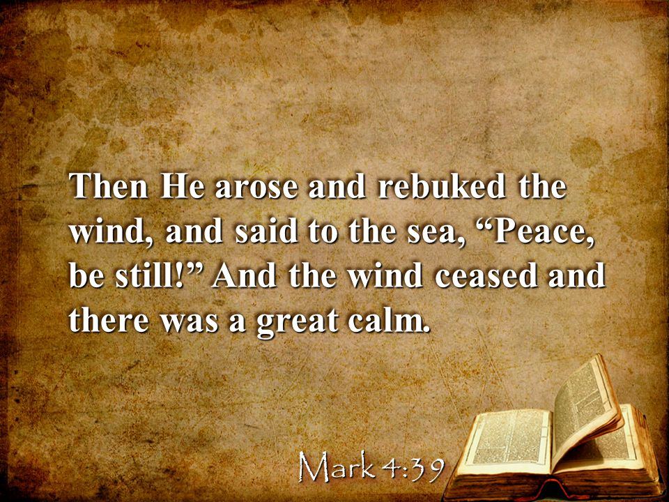 Then He arose and rebuked the wind, and said to the sea, Peace, be still! And the wind ceased and there was a great calm.