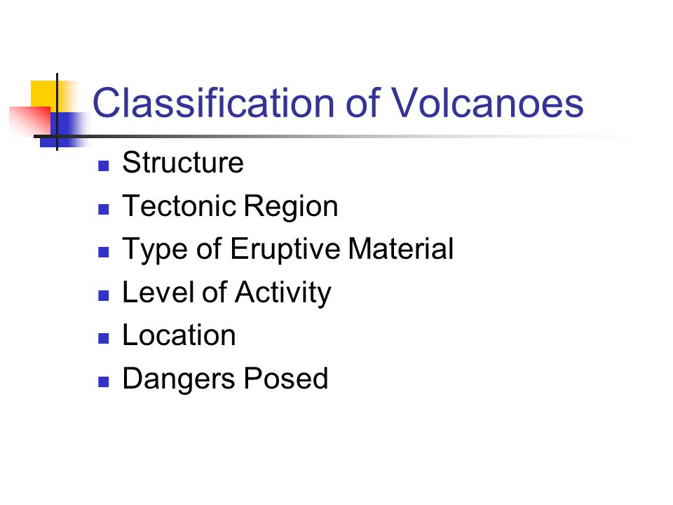Classification of Volcanoes
