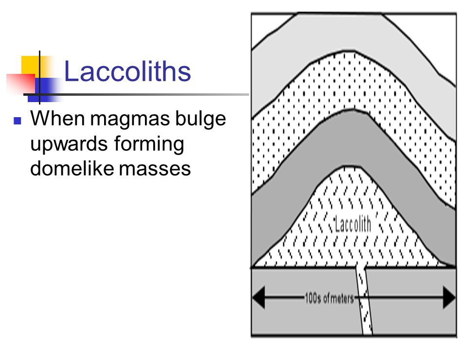 Laccoliths When magmas bulge upwards forming domelike masses