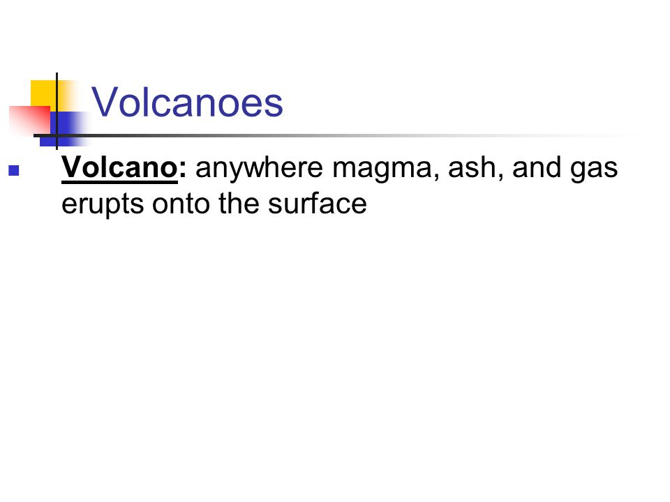 Volcanoes Volcano: anywhere magma, ash, and gas erupts onto the surface