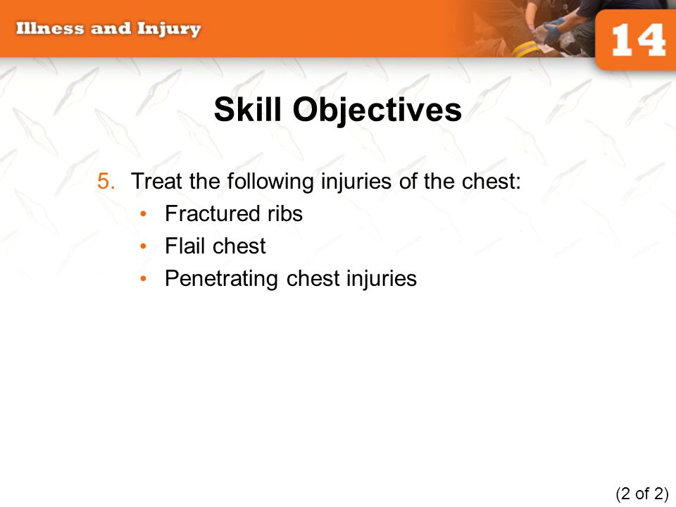 Skill Objectives Treat the following injuries of the chest: