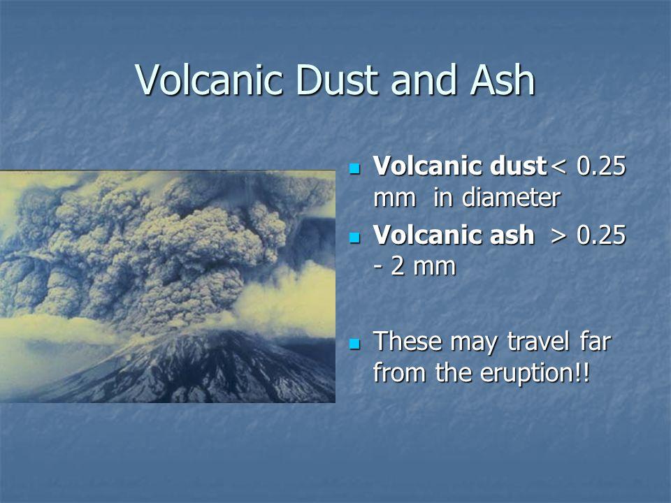 Volcanic Dust and Ash Volcanic dust < 0.25 mm in diameter
