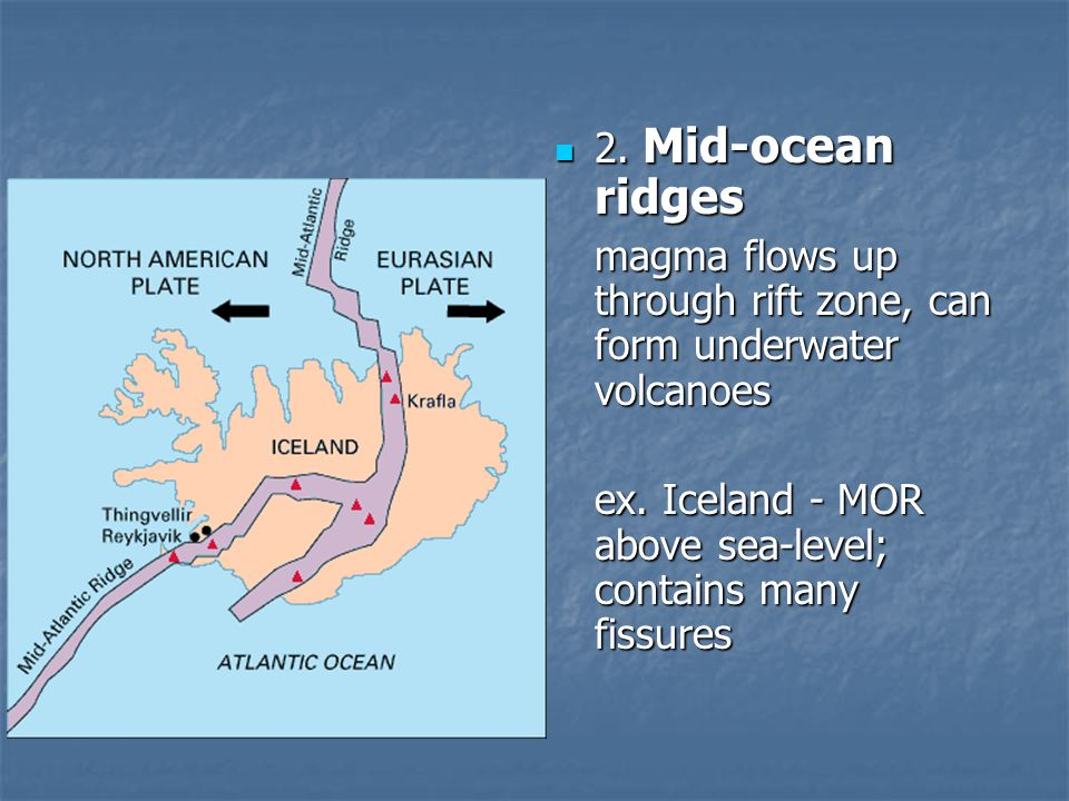 2. Mid-ocean ridges magma flows up through rift zone, can form underwater volcanoes.