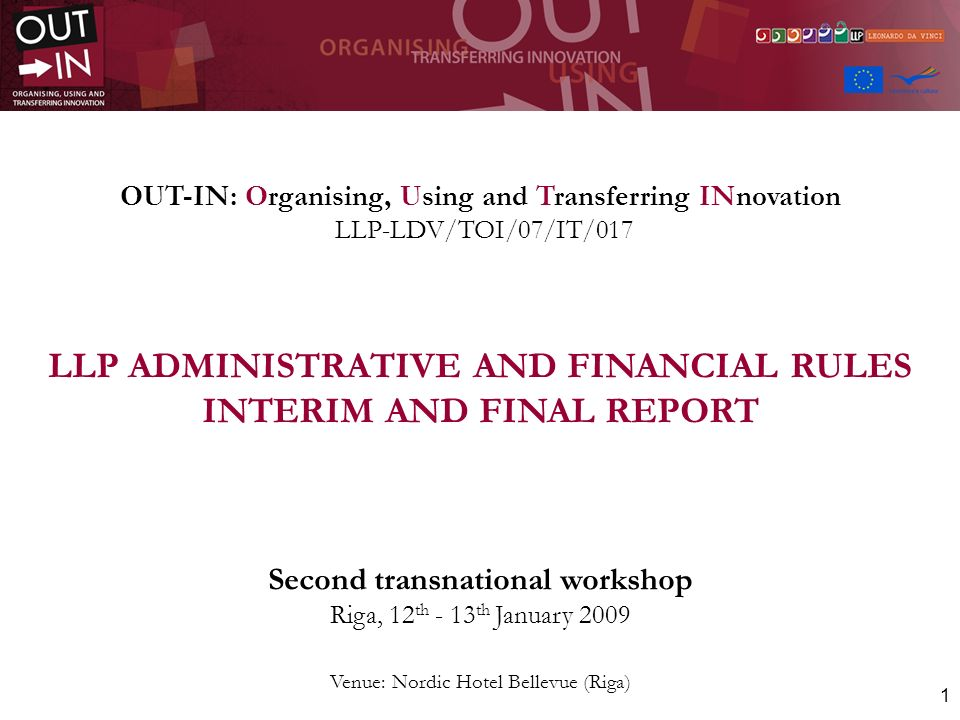 LLP ADMINISTRATIVE AND FINANCIAL RULES INTERIM AND FINAL REPORT