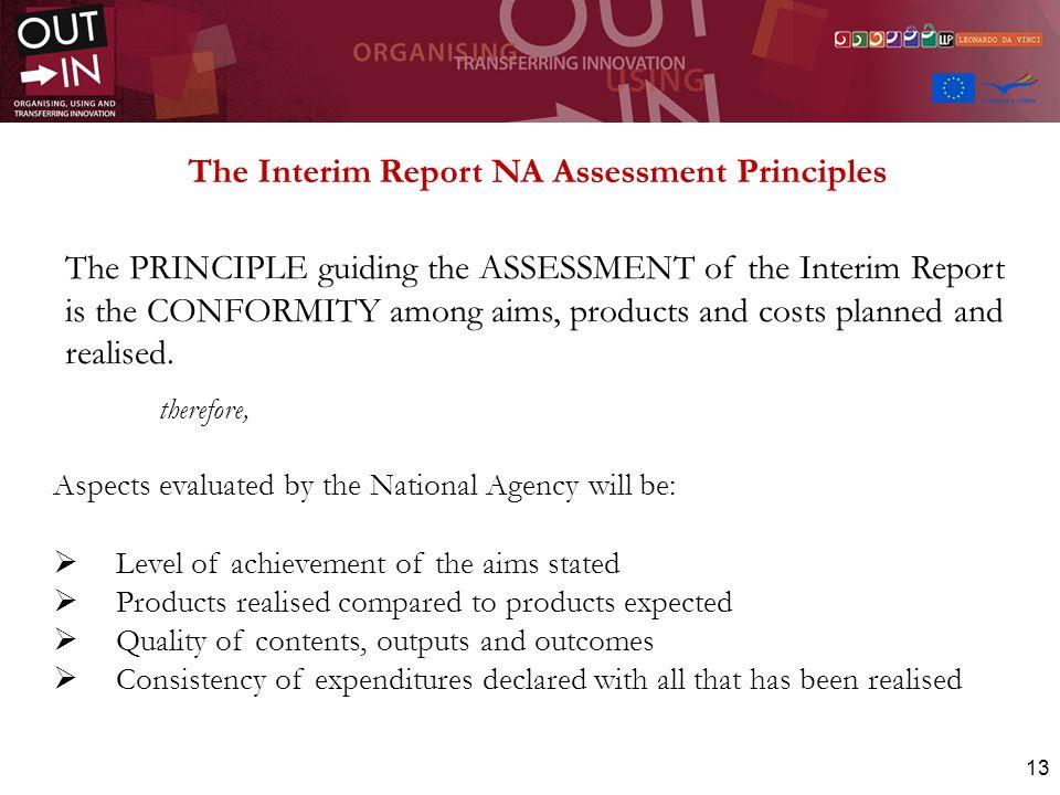 The Interim Report NA Assessment Principles